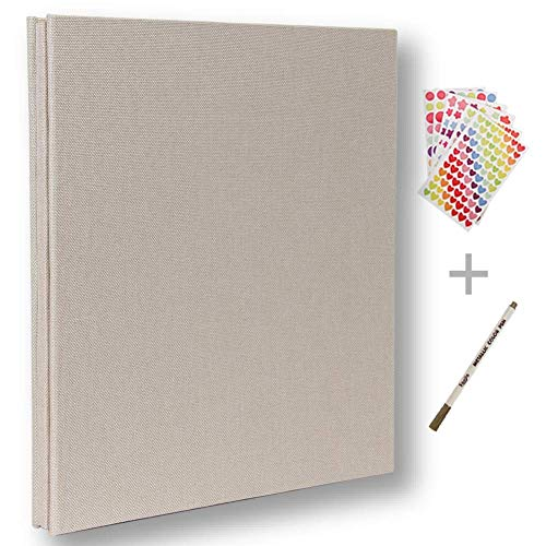 Álbum de fotos autoadhesivo, álbum de recortes magnético, 40 páginas, tapa dura, 28 x 26 cm, con caja de almacenamiento para álbum de fotos, kit de accesorios de bricolaje blanco