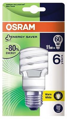 Osram 63160B1 Duluxstar Mini Twist E27 mini Energiesparlampe in gedrehter Form 11W/825, warmweiß von Osram auf Lampenhans.de