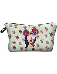 Multi-colored Flower Woman 3D Print Fashion Pattern Lady Travel Makeup Bag