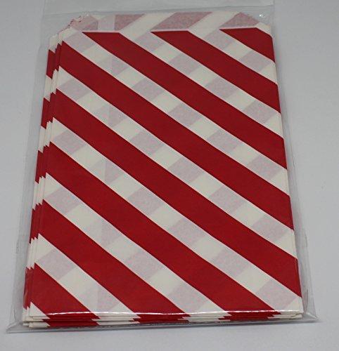 wolga-kreativ 12 Papiertüten Mittelgroß Diagonal Streifen rot Geschenktüten -