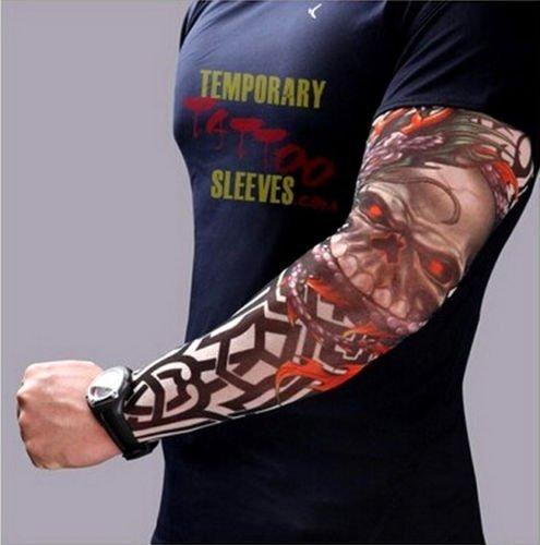 Inception pro infinite modello w36 - manicotto tattoo - indossabile - manica - tatuaggio finto - immagine - teschio e drago - tatoo - mezza manica - tribale