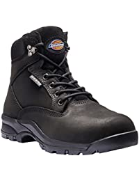 Dickies Safety Wellington Boot Size 4-12 Black FREE BEANIE Steel Toe