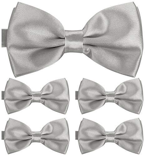 BomGuard Fliege für Herren silber I Männer Fliege für Hochzeit, Party oder edele Anlässe I Trendy Bow Tie I 5er Set Schleifen (Und Silber Bow Schwarz Tie)