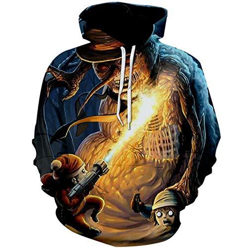 Elf Hoodie Für Kostüm Erwachsene - CJF123 Sweatshirt Halloween Horror Pullover 3D Print Teufel Geist elf Unisex beiläufige beiläufige Hoodie Sweatshirt Cosplay kostüm, XXL
