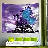 GAOFENFFR Tema de fantasía Medieval Arte de la Pared Decoración para el hogar Púrpura Dragón Tapiz Colgante de Pared para el Dormitorio Sala de Estar Dormitorio 60X40in