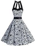 Dresstells Neckholder Rockabilly 50er Vintage Retro Kleid Petticoat Faltenrock White Skull XL
