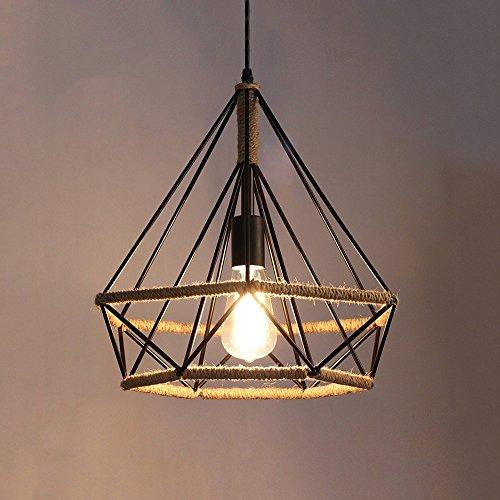 HOMEE Kronleuchter-Wsh Vintage Pendelleuchte Kit Retro Industrie Deckenleuchte Loft Industrielampe Black Diamond und Schmiedeeisen Lampenschirm - Antik Kronleuchter E27,S-25 * 26 cm -