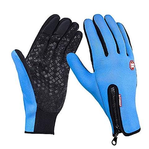 XJoel Men Winter Touch Screen Windproof Warm Gloves Women Waterresistant Coldproof Camping Thermal Fleece Riding Glove M