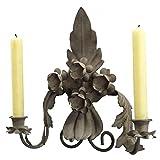 Applica portacandela da parete, motivo fogli o candelabro 2candele a fissare in ferro anticata grigio 8x 26x 29cm