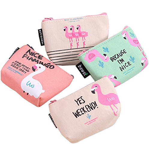 Cute Canvas Coin Purse Womens Flamingo Canvas Change Cash Bag Small Purse Wallets For Gifts, Pack of 4
