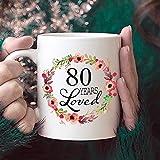 Zor345damilla Kaffeetasse zum 80. Geburtstag, Geschenk für Frauen, 80 Jahre alte Frauen, 80 Jahre geliebt, seit 1939, Weiß