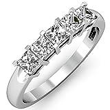0,75Carat (quilate) 14K oro blanco color blanco con corte princesa diamond Ladies 5piedra...