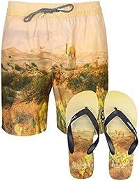 Mens Tokyo Laundry Desert Printed Swim Shorts Surf Beach Board Trunks Free Flip Flops