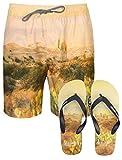 Tokyo Laundry Herren Gedruckte Badeshorts Surf Beach Board Badehose Free Flip Flops Gr. L, Desert -Beige