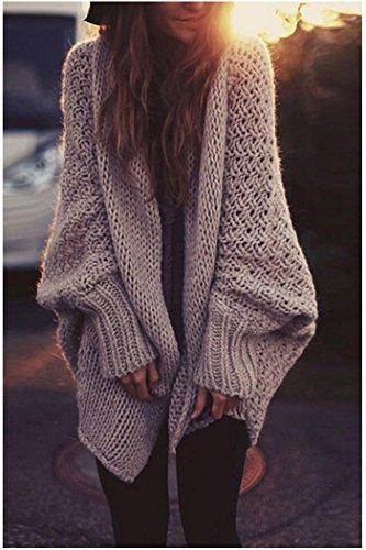 Zaywind Damen Strickjacke Cardigan Wasserfall Langarm Oversize Batwing Sleeve Casual Knit Sweater Lang Mantel Warm Jacke Khaki