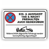 EIN- UND AUSFAHRT AUCH GEGENÜBER - Parken verboten Schild / PV-023 (30x20cm Schild)