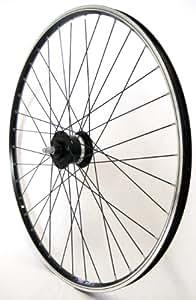 28 Zoll Fahrrad Laufrad Vorderrad Hohlkammerfelge CUT 19 Shimano Nabendynamo DHC30003 Vollachse schwarz für V-Brakes / Felgenbremse
