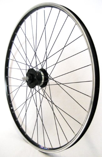 28 Zoll Fahrrad Laufrad Vorderrad Hohlkammerfelge CUT 19 Shimano Nabendynamo DHC30003 Vollachse schwarz für V-Brakes/Felgenbremse (Shimano Speichen)