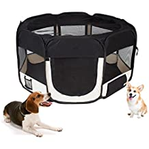 MC Star Portable Puppy Playpen Pet Pen for Dogs, Cats, Rabbits & Small Animals, 125x 125x 64cm, (Black, Red)
