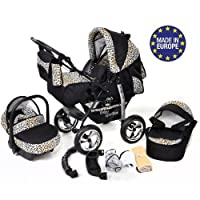 3-in-1 Travel System with Baby Pram, Car Seat, Pushchair & Accessories, Black & Leopard