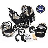 Baby Sportive - Sistema de viaje 3 en 1, silla de paseo, carrito con capazo y silla de coche, RUEDAS ESTÁTICAS y accesorios, color negro, leopardo