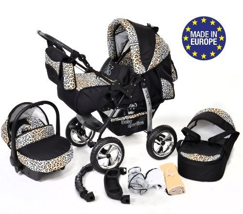 3-in-1 Travel System with Baby Pram, Car Seat, Pushchair & Accessories, Black & Leopard 51wPUIP6qSL