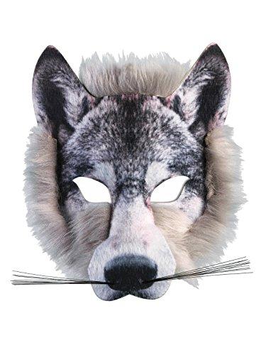 80Wolf Realistische Kunstpelz Gesichtsmaske, Grau, ONE SIZE (Wolf-masken Für Kinder)