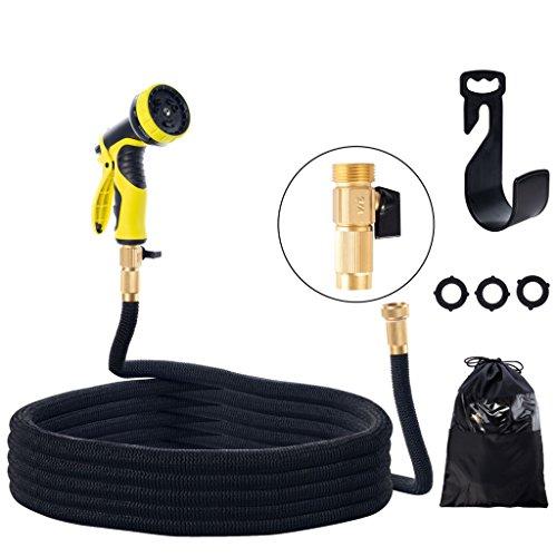QILICZ Flexibler Gartenschlauch Wasserschlauch erweiterbarer FlexiSchlauch,50ft/15m Spiralgewebe Schlauch mit 9 Funktion für Bewässerung, Autowäsche, Haus Spülen, PET-Bäder, Reinigung