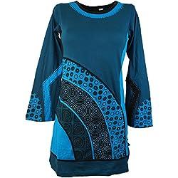Guru-Shop, Mini Vestido Túnica Boho-chic, Azul, Algodón, Tamaño:L (42), Túnicas