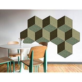 FrankenArt Akustikschaumstoff 3D PolySound Akustik Schaumstoffe aus Basotect® WollFilz Stoff - kaschiert in Hexagon-Form mit 3D Muster Größe L - Durchmesser Ø45cm Dicke: 6cm in Blassgrün