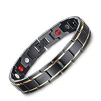 ZAMAC Men Titanium Magnetic Health Bracelet In Black Velvet Leather Gift Box + Free Link Removal Tool