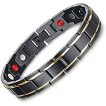 Tirador Hombres salud pulsera magnética de titanio en color negro caja de regalo de piel de terciopelo + libre herramienta de eliminación de enlace