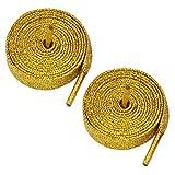 Farbige Metallic Glitzer Flache Schnürsenkel 12mm breit x 80cm & 120cm lang für Kinder & Damen Sportschuhe, Dance und Skate Stiefel Gold Glitter Gold