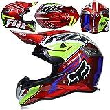 CFYBAO Adult Motocross Helm Fox Racing Full Facturm Vier Jahreszeiten Helm Motorrad Offroad-Helm,F,M