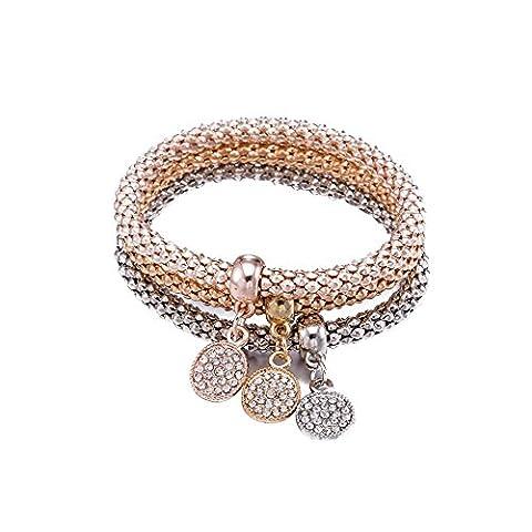 Styleziel Damen Armband Set 3 Armbänder mit kleinen Scheiben als Anhänger Rotgold Gold Silber pl mit Zirkonia Kristallen Zip 2123
