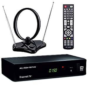 sky vision DVB-T2 Set mit HD Receiver, Zimmer-Antenne, HDMI Kabel und SCART Kabel (Digitaler Antennen-Receiver, freenet TV, HEVC H.265 Decoder), Schwarz