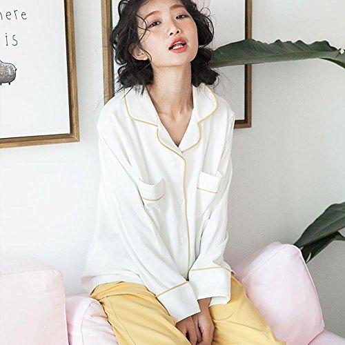 donne inverno cotone set da pigiama le signore 2 pezzi morbido casuale biancheria da notte Colore dell'immagine