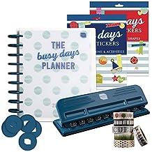 Busy Tagen Planer Platinum Starter Set. 2017/2018Life Planer mit UK Daten & Urlaub. Inkl. Punch für Disc Bound Planer System. Schöner Aufkleber Bücher. Washi Tape. Zusätzliche Scheiben.