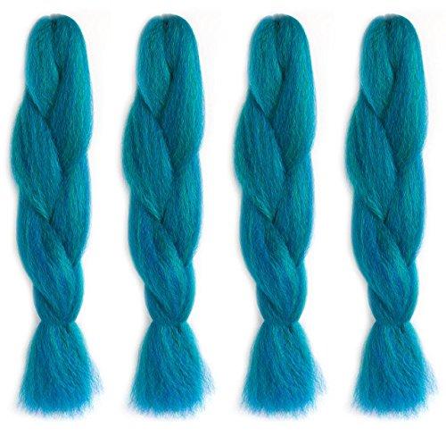 American dream premium kanekelon treccia per capelli tesse dreads e avant garde stile creativo, verde brillante, viola e blu scuro mix, confezione da 4