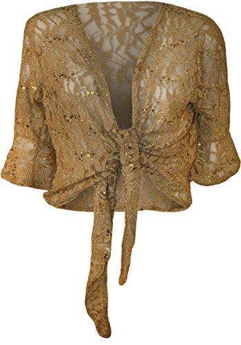 WearAll - Damen Übergröße Pailletten schnüren 3/4 glockenärmel Häkeln Partei Top - Gold - 52-54 (Gold Cardigan Detail)