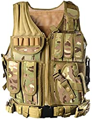 Etopfashion Caza Camuflaje Militar Chaleco Táctico Juego Body Springs Blindaje Chaleco De Caza CS Jungle Equipo Al Aire Libre y AK 47 Munición Revista Pecho Rig Carrier Batalla (B5)
