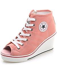 450e2c94e2fa1 JRenok Femmes Chaussures en Toile Baskets Mode Compensées à Haute Talon 8  CM Sneakers Tennis Confortable