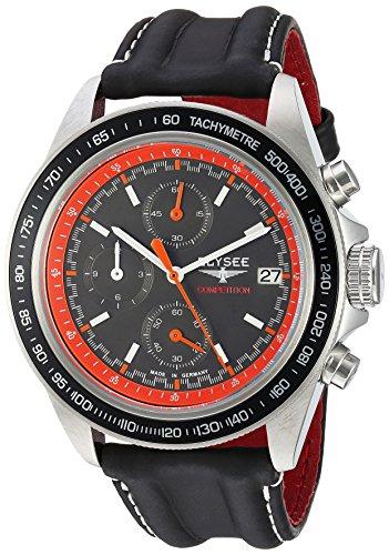 ELYSEE Men's Start-Up 42mm Black Leather Band Steel Case Sapphire Crystal Quartz Orange Dial Watch 18013L