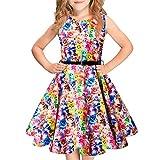 Idgreatim Mädchen 50er Jahre Vintage Kleid Swing Rockabilly Kleinkind Blumendruck Retro ärmellose Party Kleider Gürtel