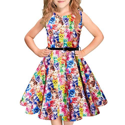 Idgreatim Mädchen 50er Jahre Boutneck ärmellose Vintage Kleinkind Blumendruck Kleid A-Line Sundress Gürtel für Party Urlaub
