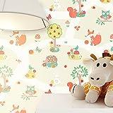 Tapete Kinderzimmer Beige niedliche Wald-Tiere | schöne süße Tapete für das Babyzimmer | inklusive der Newroom-Tapezier-Profi-Broschüre, mit allen Hilfen und Tipps, die Sie zum Tapezieren brauchen!