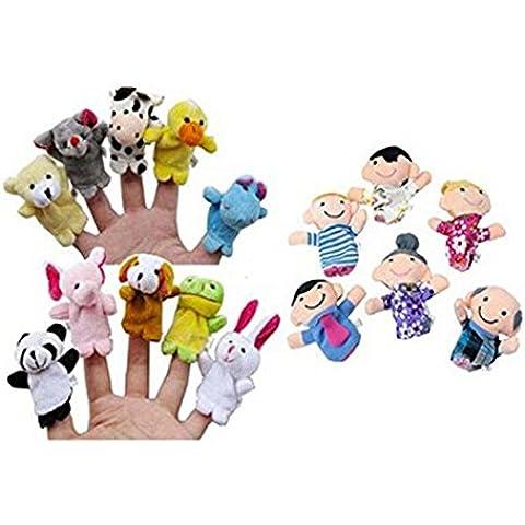 Toraway 16PC historia dedo de las marionetas lindas 10 Animales Muñecas 6 miembros de la familia juguete educativo interactivo