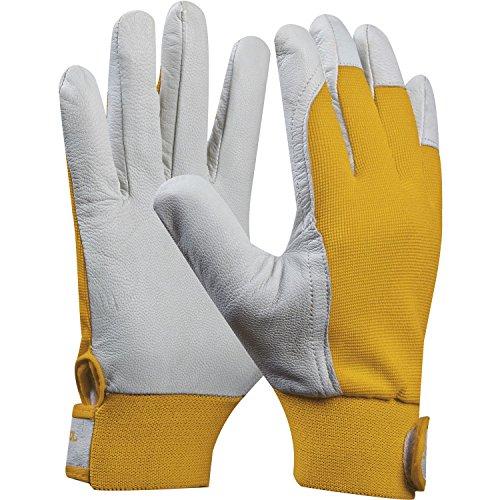 Arbeitshandschuh UNI FIT COMFORT | Größe 8 (M) | gelb | Baustellenhandschuh aus Ziegen-Leder | 1 Paar