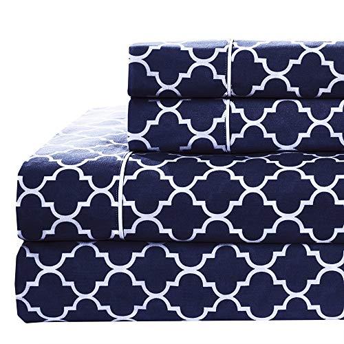 Royal Hotel Meridian Bettlaken-Set aus 100% Baumwolle, hochwertiges Satingewebe, knusprig weich, Tiefe Taschen, moderner Reaktivdruck, geteiltes King-Size-Bett Top-Split-King Navy -