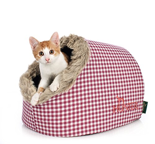 HUNTER Astana Cat Cave, 38 x 40 x 27 cm, Medium, Checked Red/Plush Red 2